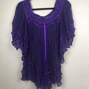 Tops - Purple peasant tunic